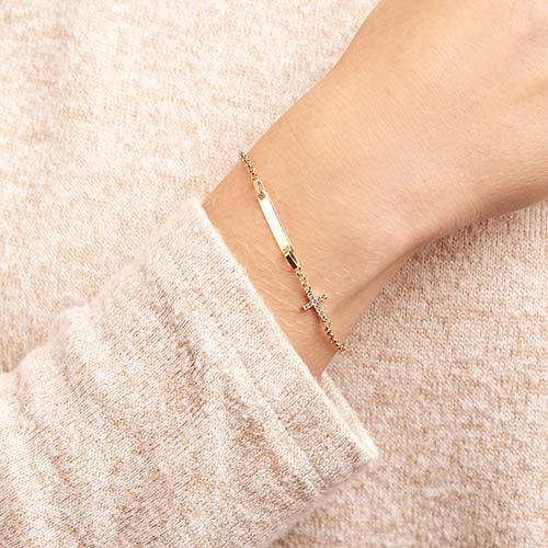 585er Gold Gravur Armband Kreuz Zirkonia
