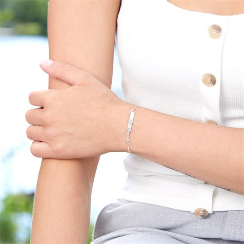 Gravur Armband aus Sterlingsilber mit Schmetterling