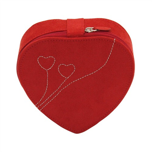 Schmuckkasten Herz Velour rot inklusive Spiegel