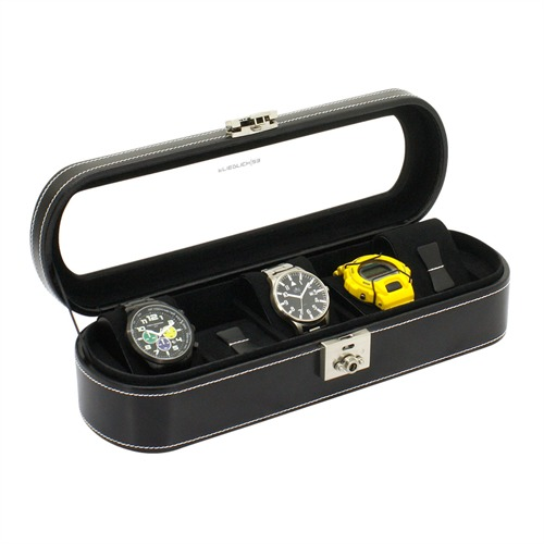 Abgerundeter Uhrenkasten schwarz für 5 Uhren