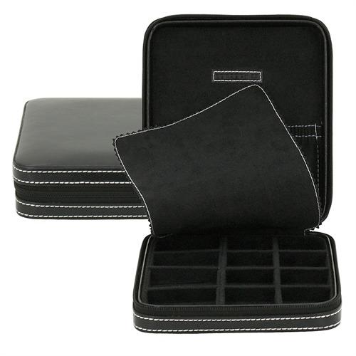 Etui für Manschettenknöpfe in schwarz Leder