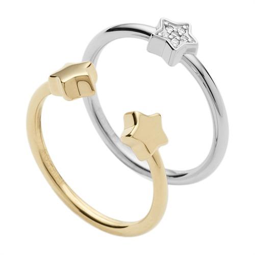Fossil Ringe silber gold mit Sternen JFS00413998