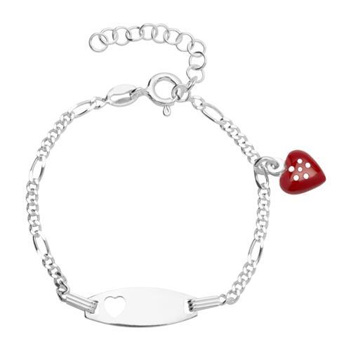 Gravierbares Kinderarmband Silber Herzmotiv