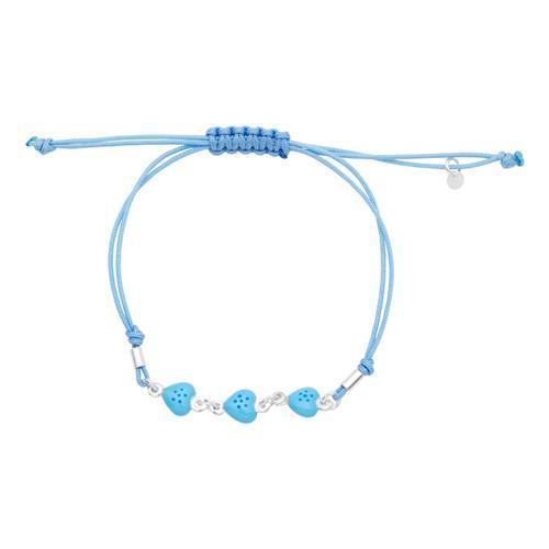 Blaues Kinderarmband Textil mit Silberelementen
