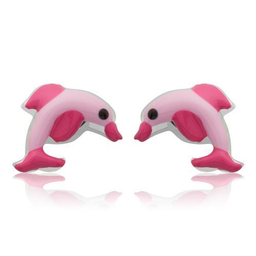 925 Silber Kinderohrstecker mit Delfinmotiv pink