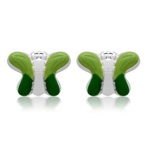 Kinderohrstecker Silber Schmetterling grün