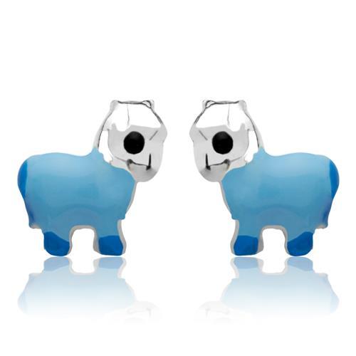 925 Silber Kinderohrstecker Pferd blau