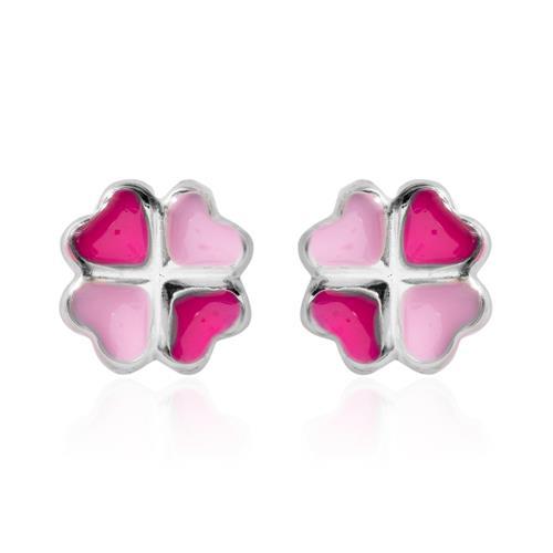 925 Silber Kinderohrstecker Kleeblatt pink rosa