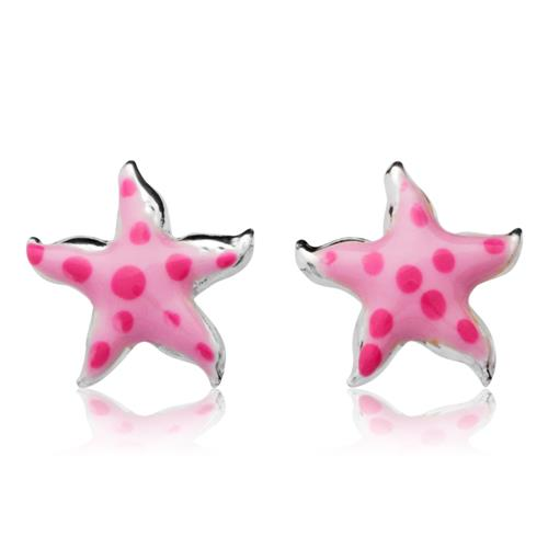 925 Silberohrstecker für Kinder rosa Sterne
