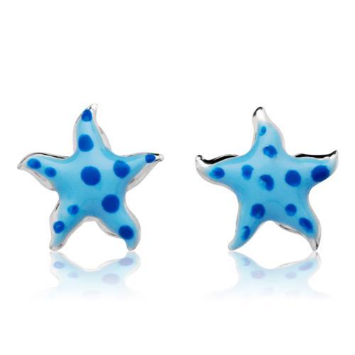925 Silberohrstecker für Kinder blaue Sterne