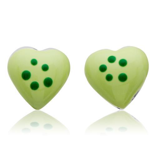 925 Silberohrstecker für Kinder grünes Herz