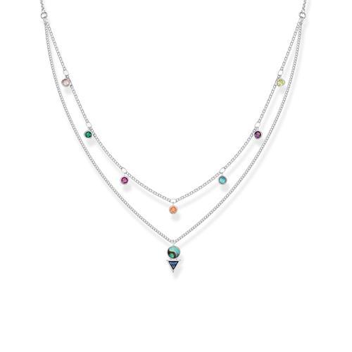 Kette Farbige Steine für Damen aus 925er Silber