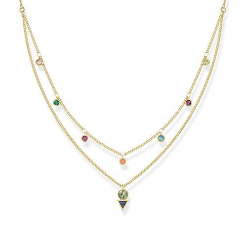 Kette Farbige Steine für Damen 925er Silber vergoldet