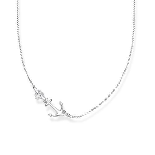 Halskette Anker mit Herz aus 925er Silber mit Zirkonia