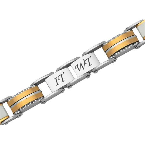 Gold-silbern-weißes Armband Edelstahlglieder
