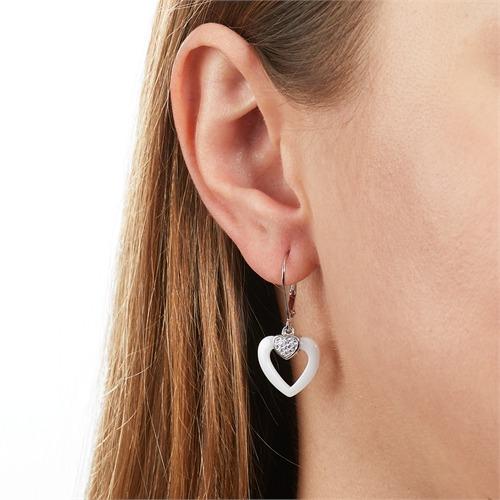 Herz Ohrhänger aus 925er Silber Zirkonia Keramik