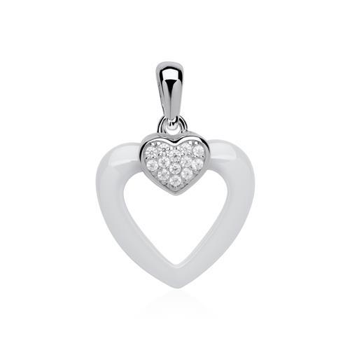 Kette Herz aus 925er Silber Zirkonia Keramik