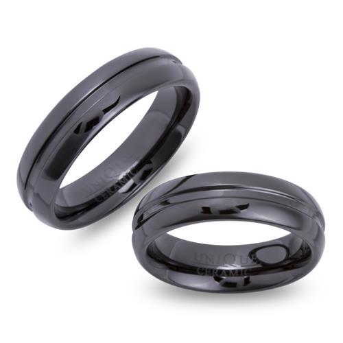 Exklusive schwarze Keramik Eheringe kratzfest