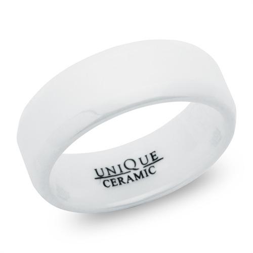 Weisse Trauringe aus Keramik 8mm matt