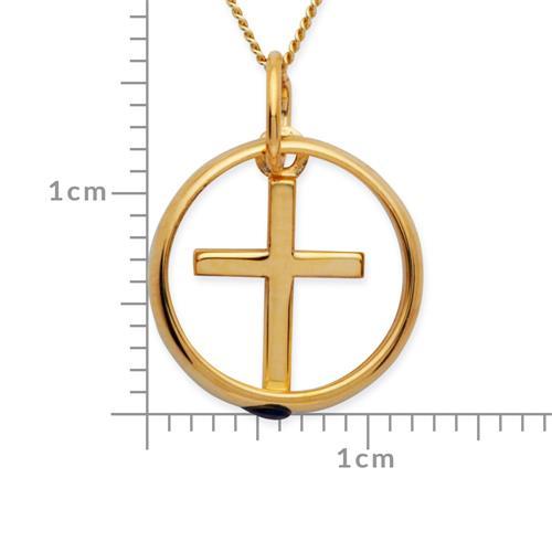 333er Gold Taufkette: Saphir Kreuz