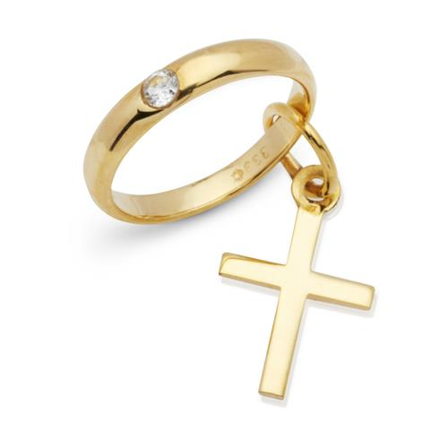 Gold Taufring: 333er Zirkonia Kreuzanhänger