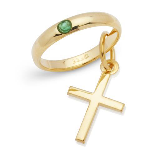333er Gold Taufring mit Kreuz und Smaragd
