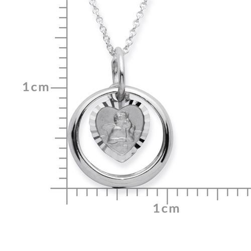Taufring: 925 Silber Saphir Engelsanhänger