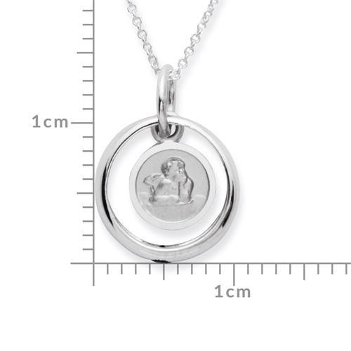 Taufring 925 Silber Saphir Engelsanhänger