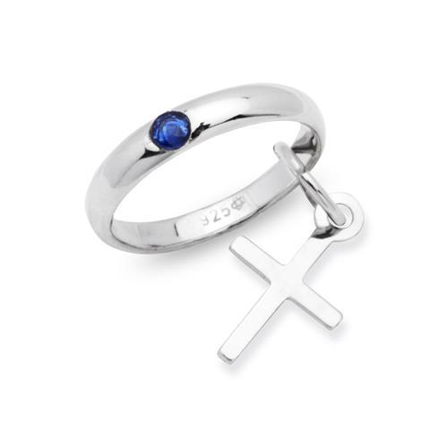 Taufring 925 Silber Saphir Kreuzanhänger