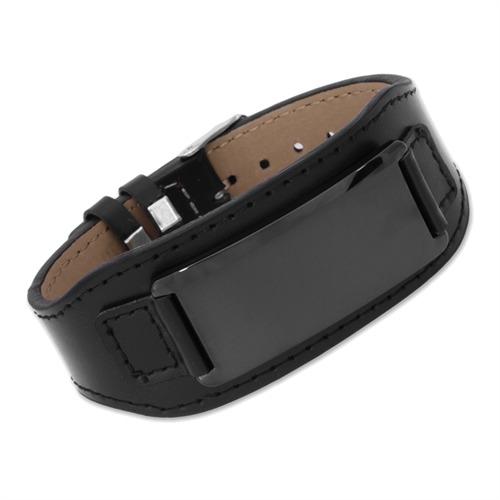 Lederarmband mit gravurplatte  Schwarzes Leder Armband Gravurplatte Dornschließe LB0008
