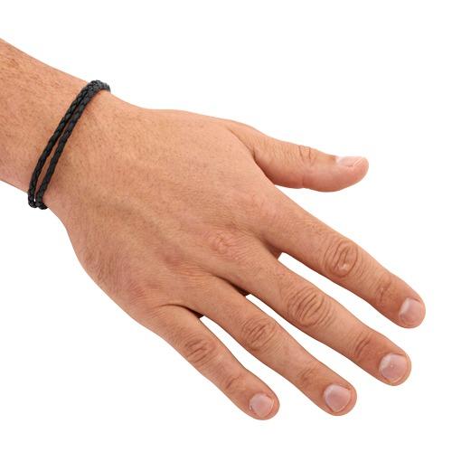 Schwarzes Leder Armband 6,5 mm