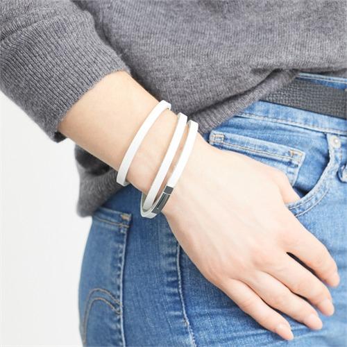 Armband aus weißen Leder Verschluss gravierbar