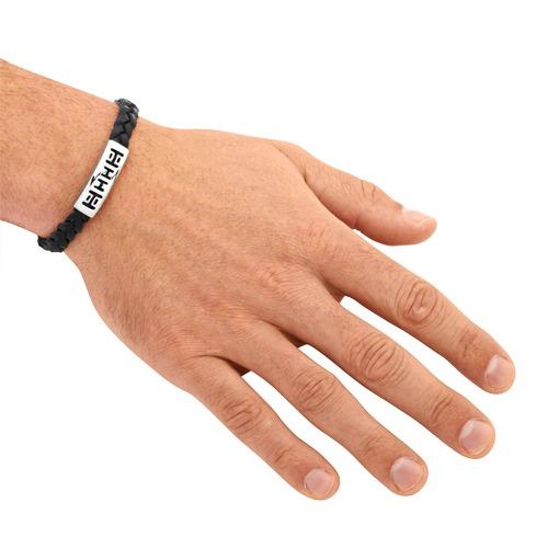 Armband Leder Edelstahlverschluss schwarz