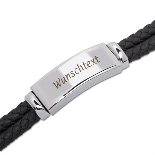 Schwarzes Leder Armband Gravurplatte