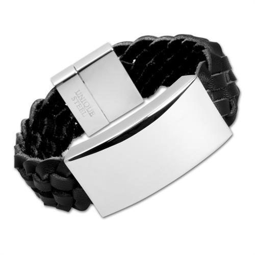 Schwarzes Leder Armband Edelstahlgravurplatte