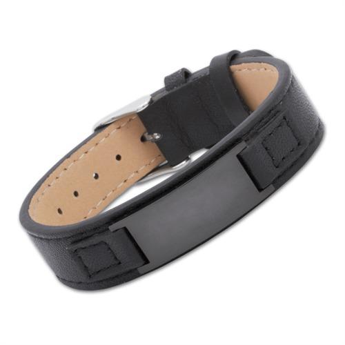Armband Leder schwarz verstellbar 15,0-17,5cm