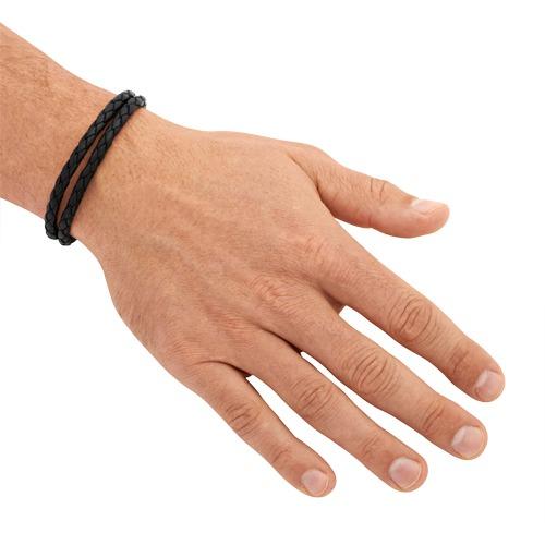 Schwarzes Echtleder Armband moderner Verschluss