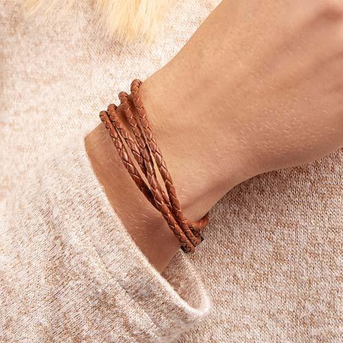 Braunes Armband Edelstahlverschluss Gravur