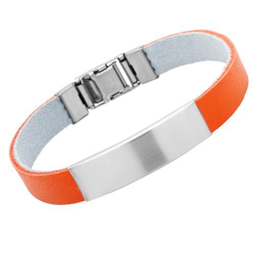 Modernes Lederarmband gravierbar orange