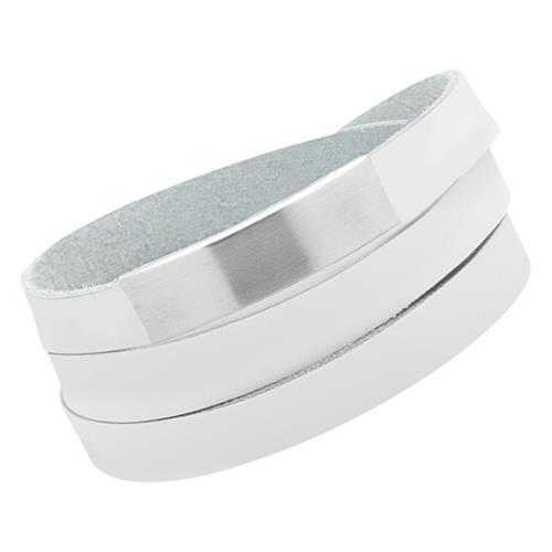 Modisches Armband Leder weiß gravierbar