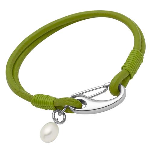 Leder Armband Süßwasserperle grün