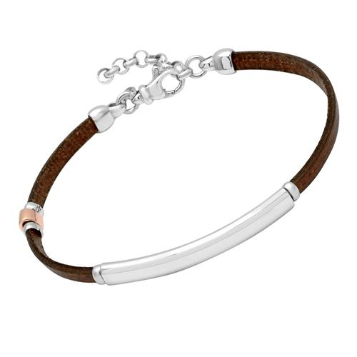 Brown Leather Bracelet With Sterling Silver Plate