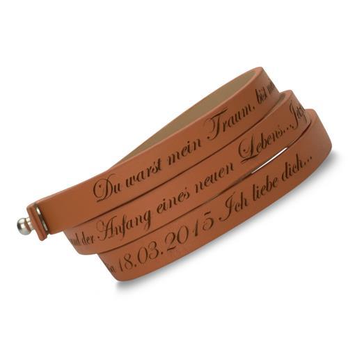 Echtleder-Armband zum Wickeln cognac gravierbar