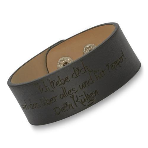 Schwarzes Unisex-Armband Leder inklusive Gravur