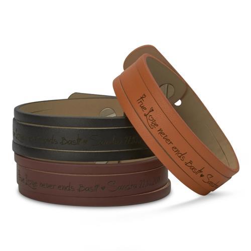 Gravierbares Leder-Armband geschlitzt cognac