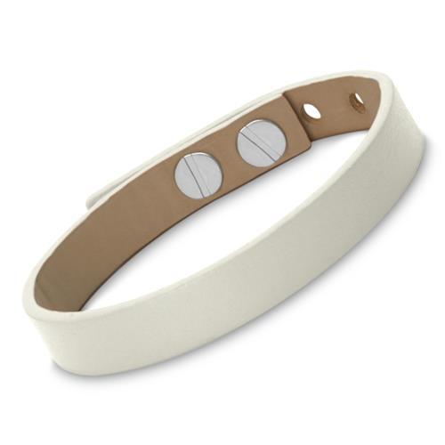 Armband Leder inklusive Lasergravur weiß
