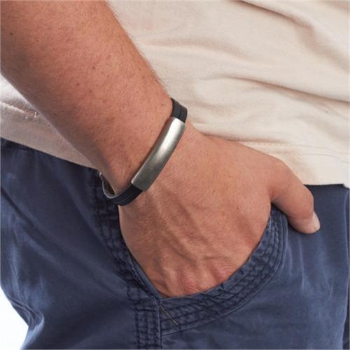 Schwarzes Armband Leder gravierbar