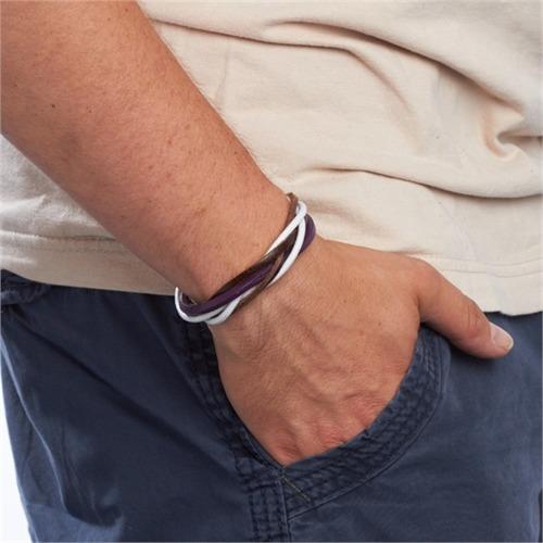 Leder-Armband Farb- und Materialmix violett