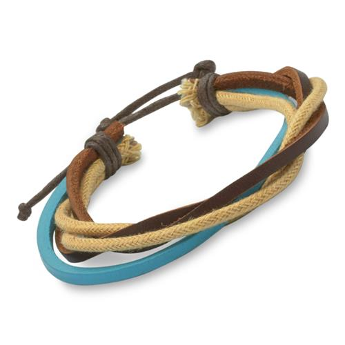 Längenverstellbares Armband türkis dunkelbraun