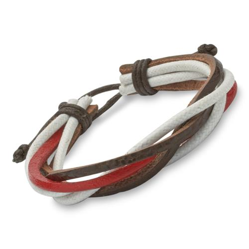 Lässiges Armband Leder und Textil rot braun weiß